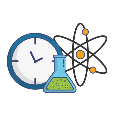 atom and chemical flask icon over white background vector illustration