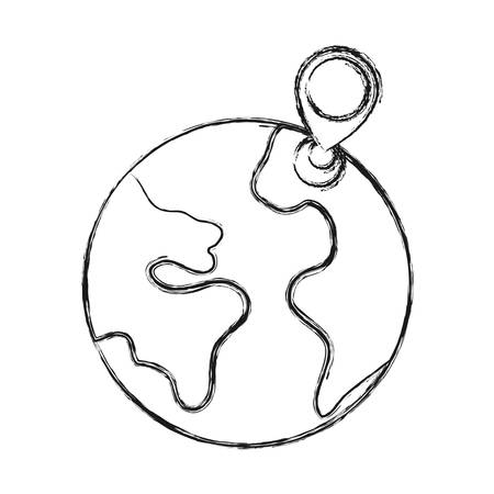 earth planet and location pin icon over white background vector illustration Illustration