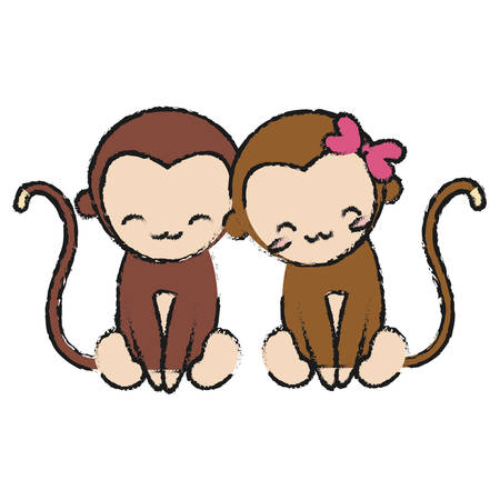 couple of cute monkeys icon over white background colorful design vector illustration Illustration