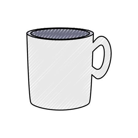colored  mug  doodle  over white background  vector illustration