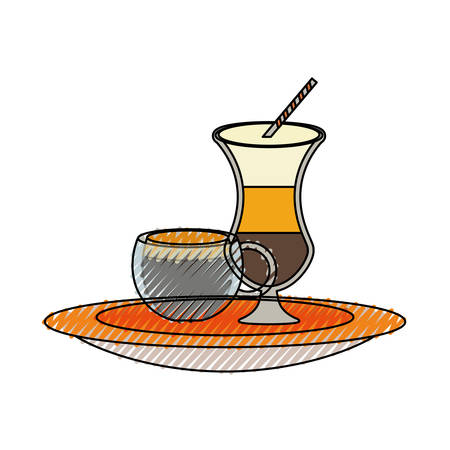 colored  ice coffee malt  and coffee cup doodle over white background vector illustration Illustration