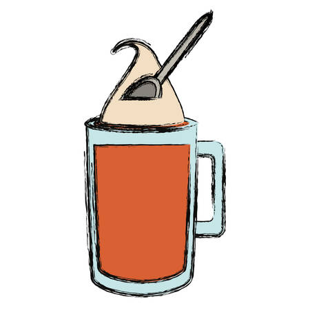 colored  ice coffee doodle over white background vector illustration