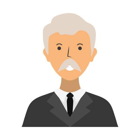 白の背景ベクトルイラストの上に漫画の弁護士アイコン