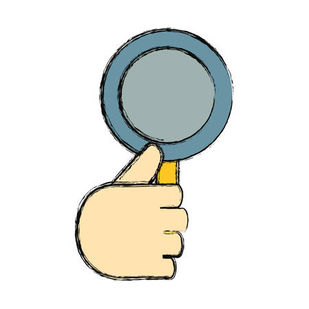 hand holding a magnifying glass icon over white background vector illustration Illustration