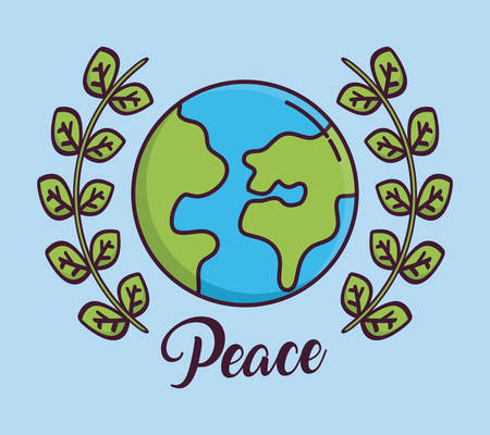 earth planet and wreath of leaves icon over blue background colorful design vector illustration Illustration