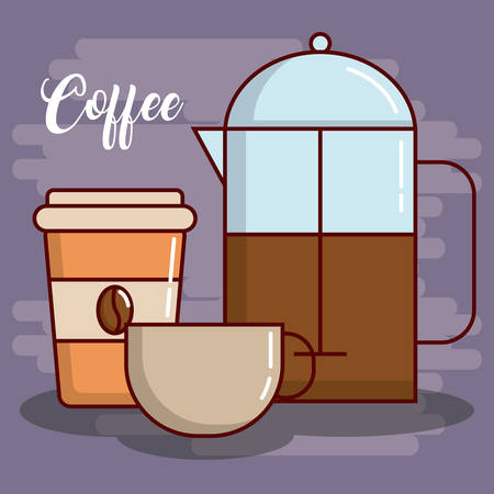 french press and coffee drinks icon over purple background colorful design vector illustration