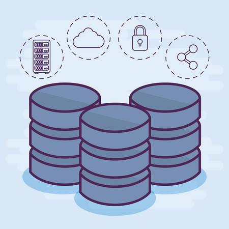 database disks storage and data center related icons over white background colorful design vector illustration Illustration