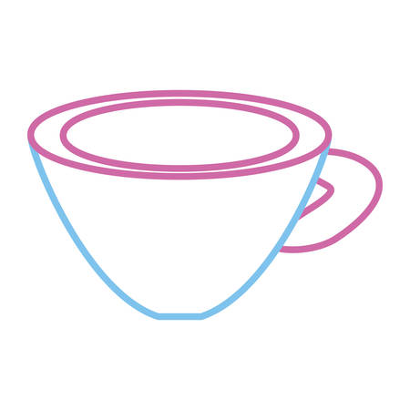 Flat line colored cup  over illustration.