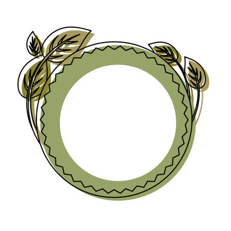 colored round ethnic frame  with leaves over white background  vector illustration Illustration