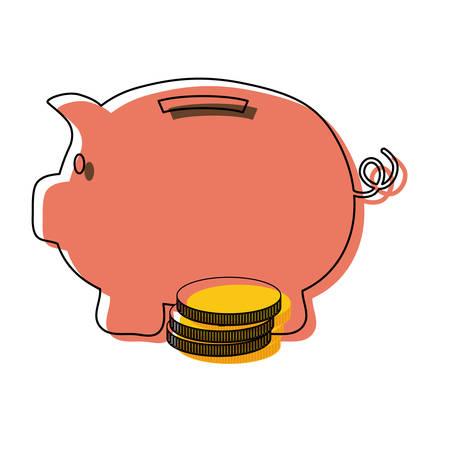 colored piggy bank over white   background  vector illustration Ilustração