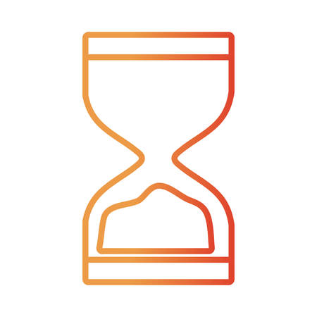 flat line colored hourglass  over white background  vector illustration
