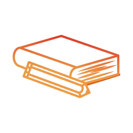 flat line colored  book  and pencil over white background   vector illustration