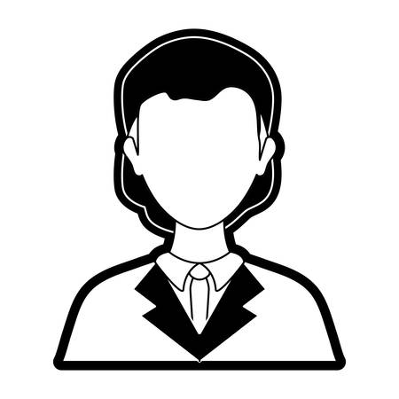 flat   line  monocromatic young lawyer over white background vector illustration