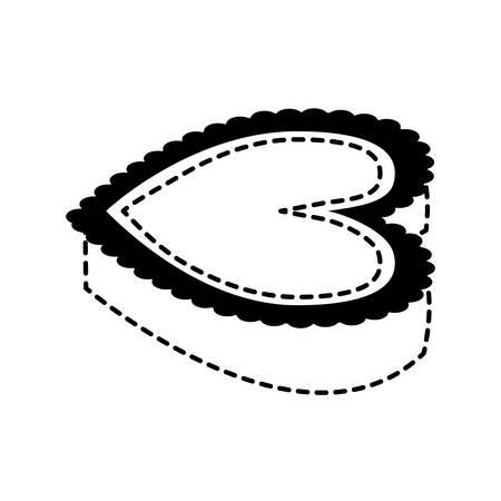 Herzikone über weißer Hintergrundvektorillustration