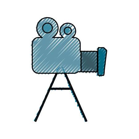 colored  videocamera  doodle  over  white background vector illustration