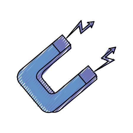 colored magnet doodle over white background vector illustration