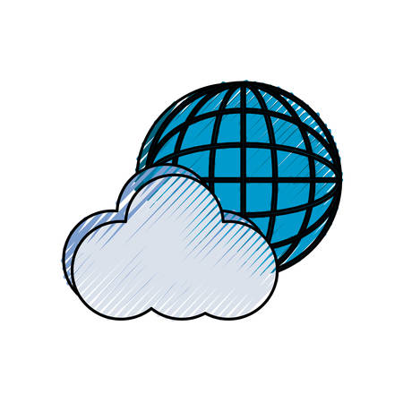colored cloud  over white  background  vector illustration Illustration