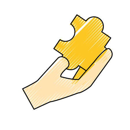 volume control: colored puzzle  piece with hand  doodle  over white  background vector illustration Illustration