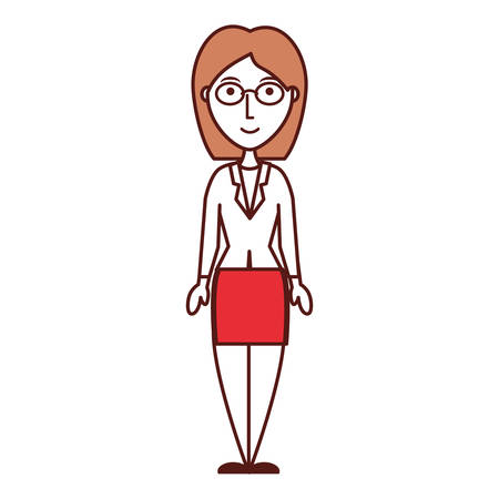 associates: Cartoon businesswoman icon over white background colorful design vector illustration