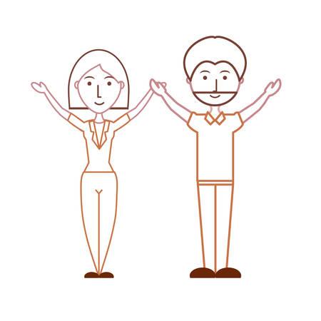 cartoon couple icon over white background vector illustration