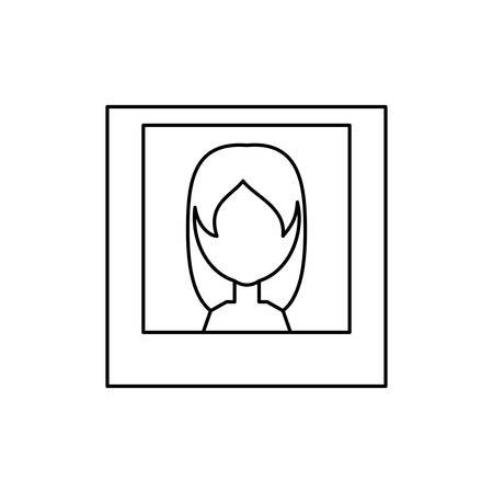 Woman picture icon over white backdrop illustration. Illustration