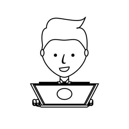 cartoon man working on the computer icon over white background vector illustration