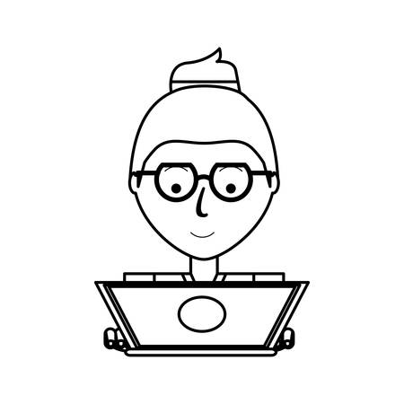 cartoon woman working on the computer icon over white background vector illustration Illustration