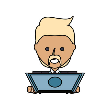 pc: cartoon man working on the computer icon over white background colorful design vector illustration