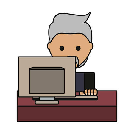 cartoon man working on the computer icon over white background colorful design vector illustration