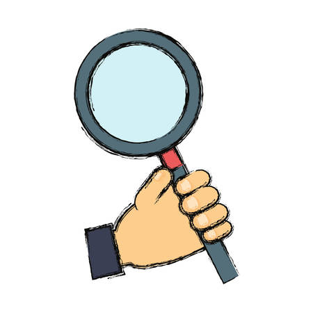 Hand with magnifying glass icon over white background vector illustration Illustration