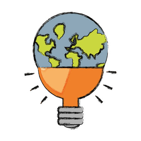 earth planet in bulb shape icon over white background colorful design vector illustration
