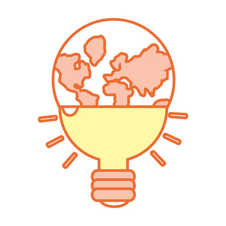 Planet Earth in bulb shape icon over white background colorful design vector illustration