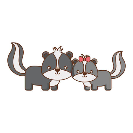 cute couple of skunks icon over white background vector illustration Illustration