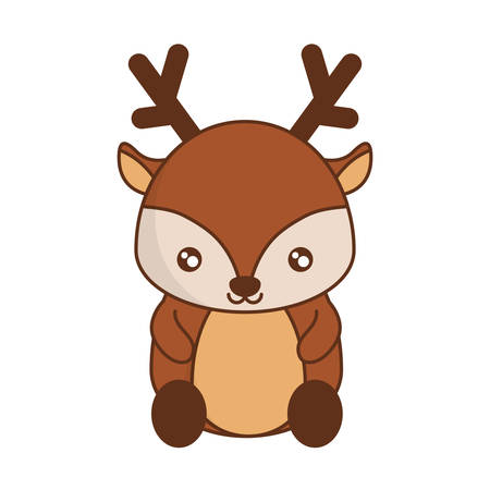 Cute colored deer icon over white background