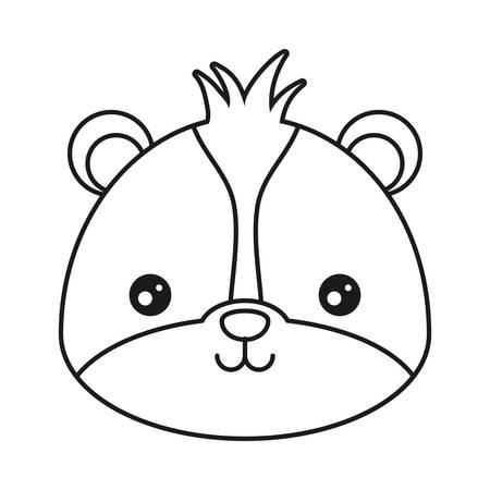 Cute skunk icon over white background