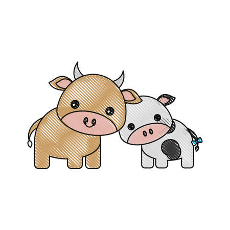 simple life: Cute cows icon over white background
