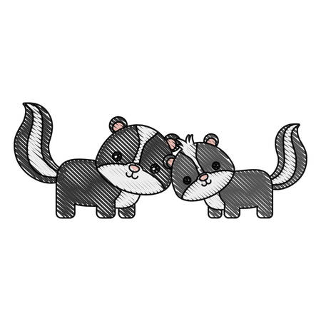 Cute couple of skunks icon over white background vector illustration