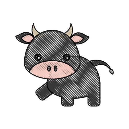 simple life: Cute cow icon over white background vector illustration Illustration