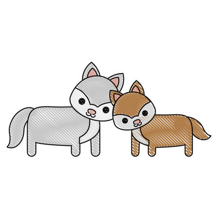 simple life: cute couple of foxes icon over white background vector illustration