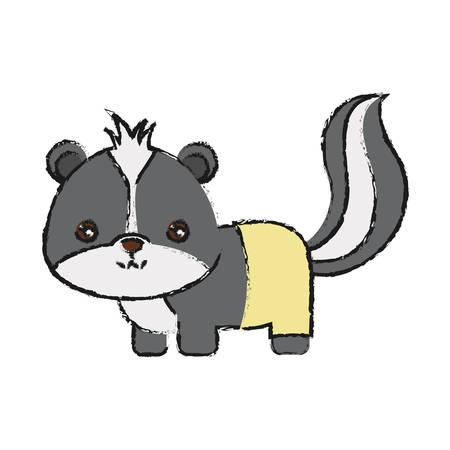 lindo icono de skunk sobre fondo blanco colorido diseño de ilustración vectorial