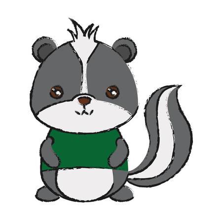 Icono de skunk lindo sobre ilustración de vector de diseño colorido fondo blanco