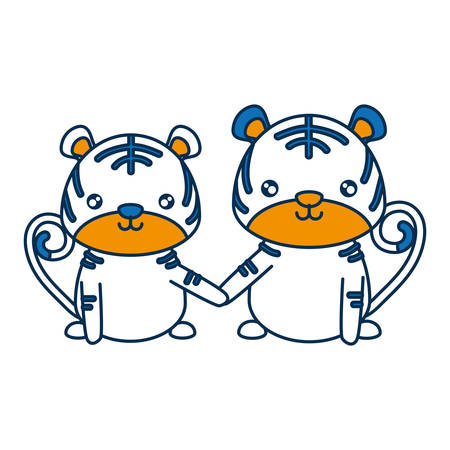 Cute couple of tigers icon over white background vector illustration