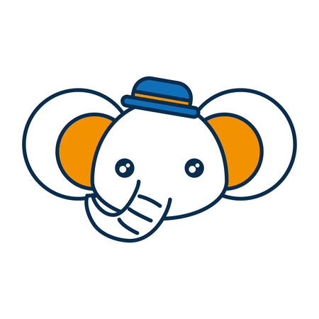 Cute elephant icon over white background vector illustration