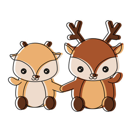 cute couple of deers icon over white background vector illustration