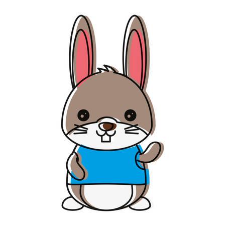 cute rabbit icon over white background colorful design vector illustration