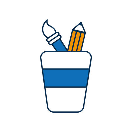 cup with drawing utensils icon over white background vector illustration Illustration