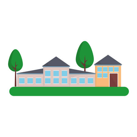 modern houses and trees icon over white background colorful design vector illustration Illustration