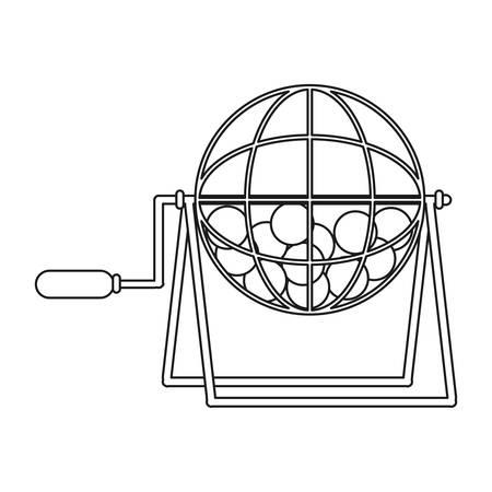 icono de la rueda de lotería sobre ilustración de vectores de fondo blanco