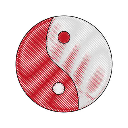 yin yang icon over white background vector illustration