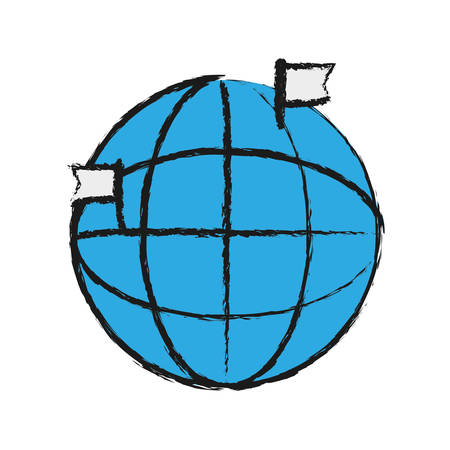 global sphere icon over white background vector illustration Illustration